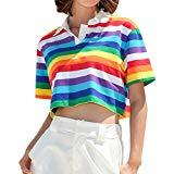 Offer for Short Crop Top Work Out Cloth for Women Turn-Down Collar Short Sleeve Rainbow Striped (S, Multicolor)