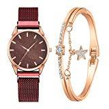 Offer for YIWULA 2020 Women's Bangle Gold Watch and Bracelet Set Small and Delicate European Beauty Simple and Elegant Casual Watches Suit Gift Sale (Red)