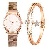 Offer for YIWULA 2020 Women's Bangle Gold Watch and Bracelet Set Small and Delicate European Beauty Simple and Elegant Casual Watches Suit Gift Sale (Rose Gold)