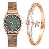 Offer for YIWULA 2020 Women's Bangle Gold Watch and Bracelet Set Small and Delicate European Beauty Simple and Elegant Casual Watches Suit Gift Sale (Green)