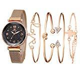 Offer for Clearance LUORATA 2020 Stainless Watch Cuff Set Elegant Women Bangle Watch Crystal Bracelet Set 5pcs Fashion Bangle Set (Bracelet Watch Set, Rose Gold)