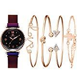 Offer for Clearance LUORATA 2020 Stainless Watch Cuff Set Elegant Women Bangle Watch Crystal Bracelet Set 5pcs Fashion Bangle Set (Bracelet Watch Set, Purple)