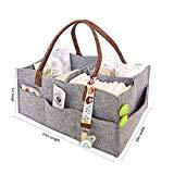 Offer for LUORATA Portable Baby Diaper Caddy Organizer with Multi Pocket -Portable Diaper Holder Basket for Nursery or Car - 3 Insert Compartments Canvas Tote Boy or Girl (Gray, 15 x 10 x 7 inch)