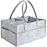 Offer for LUORATA Baby Diaper Caddy Organizer Bag Basket Large Storage Portable Nursery Holder Bag Boy Girl Unisex for Changing Table and Car Travel Newborn Baby Shower Registry Gifts (Grey, 33 x 22 x 17cm)