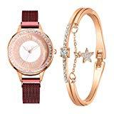 Offer for YIWULA 2020 Women's Bangle Gold Watch and Bracelet Set Small and Delicate European Beauty Simple and Elegant Casual Watches Suit Gift Sale (Simple F)