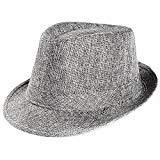 Offer for Unisex Sun Straw Hat Trilby Gangster Cap Fedoras Beach Band Sunhat Outdoor Topper (Gray)