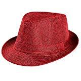 Offer for Unisex Trilby Gangster Cap Beach Sun Straw Hat Band Sunhat (Wine)