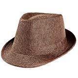 Offer for Unisex Trilby Gangster Cap Beach Sun Straw Hat Band Sunhat (Coffee)
