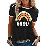 Offer for 2020 Women Bring On The Sunshine Printed T-Shirt Causal Loose Christian Graphic Tees Short Sleeve Summer Blouses Tops (Black, XL)