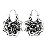 Offer for Boho Style Drop Earring Dangle Mandala Flower Shape Earrings for Women Girls (Silver)