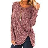Offer for VEZARON Women's Comfy Casual Long Sleeve Side Twist Knotted Tops Blouse Tunic T Shirts