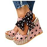 Offer for Womens Wedge Sandals - Dot Laceup Ankle Strap Platform Heel Espadrille Sandals Shoes Footwear