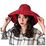 Offer for YIWULA Womens Bucket Hats Summer Foldable Casual Cap Elegant Women Pure Color Wide Beach Soild Ha (Red, Free Size)