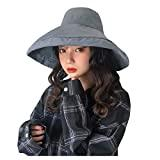 Offer for YIWULA Womens Bucket Hats Summer Foldable Casual Cap Elegant Women Pure Color Wide Beach Soild Ha (Gray, Free Size)