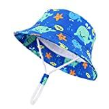 Offer for Baby Boys Girls Sun Hats Caps Cute Print Bucket Hat Breathable Adjustable Outdoor Beach Hat with Wide Birm (C-Light Blue Sun hat, 7-12 Years)