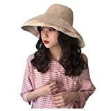Offer for YIWULA Womens Bucket Hats Summer Foldable Casual Cap Elegant Women Pure Color Wide Beach Soild Ha (Beige, Free Size)
