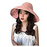 Offer for YIWULA Womens Bucket Hats Summer Foldable Casual Cap Elegant Women Pure Color Wide Beach Soild Ha (Pink, Free Size)