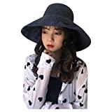Offer for YIWULA Womens Bucket Hats Summer Foldable Casual Cap Elegant Women Pure Color Wide Beach Soild Ha (Navy, Free Size)